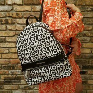 Michael Kors Black White Monogram Kenly Backpack